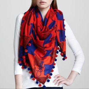 Diane von Furstenberg scarf with pom poms